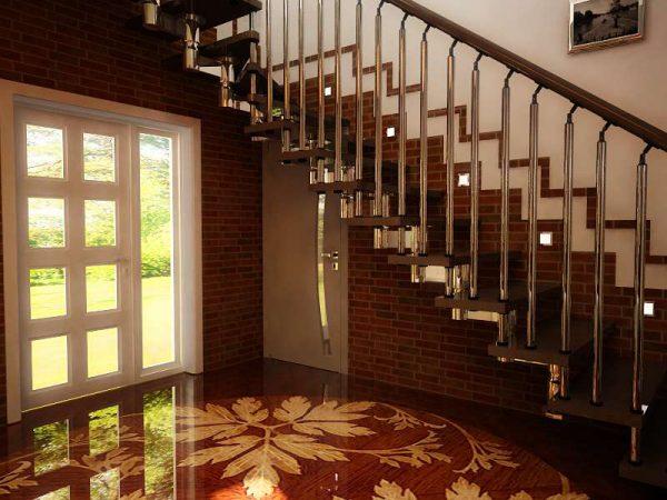 роскошный интерьер коридора с лестницей