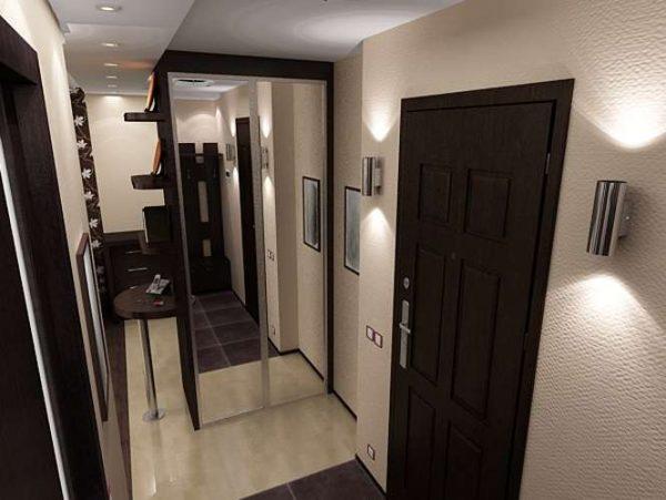 шкаф купе с зеркальными дверями в прихожей хрущёвки