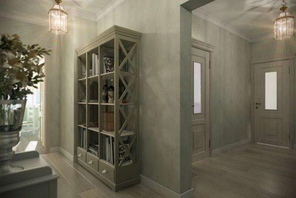шкаф с открытыми полками в прихожей в стиле кантри