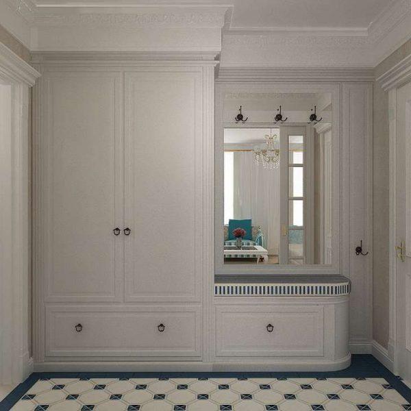 белый шкаф в прихожей в стиле кантри