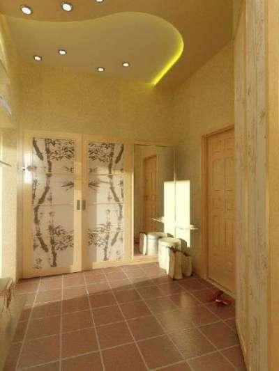гипсокартоный потолок в прихожей в японском стиле