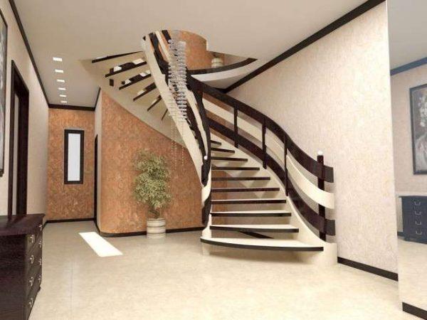 лестница в прихожей в японском стиле