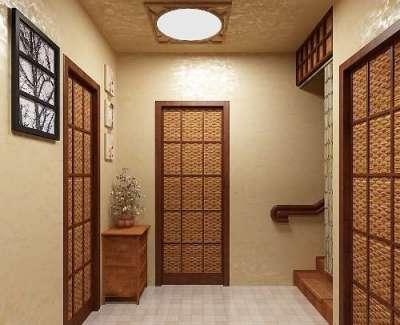 двери с плетённым оформлением в прихожей в японском стиле