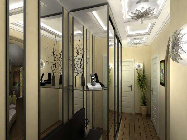 зеркальная поверхность шкафа в прихожей в японском стиле