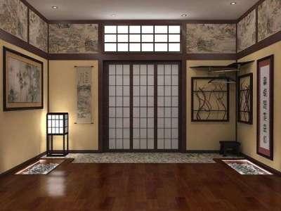 коричневая прихожая в японском стиле