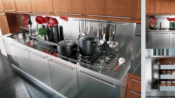 фартук металлический в интерьере кухни
