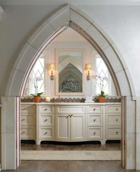 арка стрелочный проём из гипсокартона на кухне
