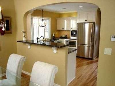 романтическая арка из гипсокартона на кухне