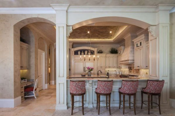 арка декоративная из гипсокартона на кухне