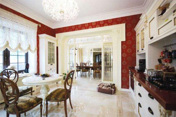 арочный проём с декором из гипсокартона на кухню