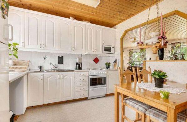 арка со скошенными углами из гипсокартона на кухню