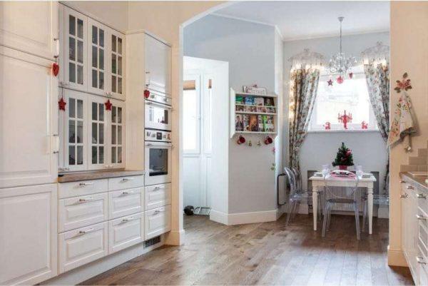 арка прямоугольная со скошенными углами из гипсокартона на кухню