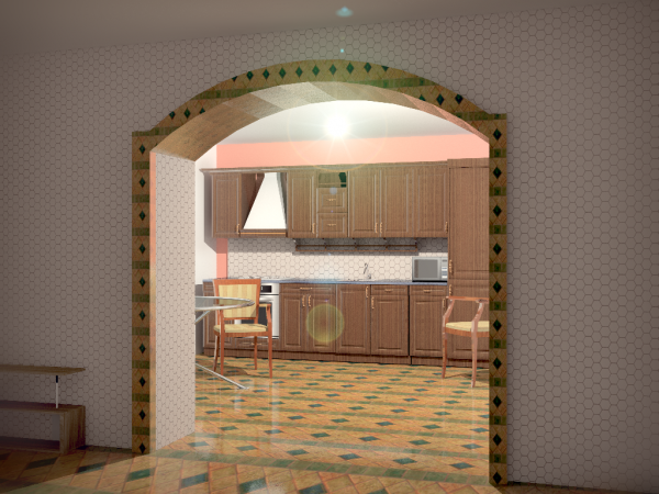трапециевидная арка из гипсокартона на кухню