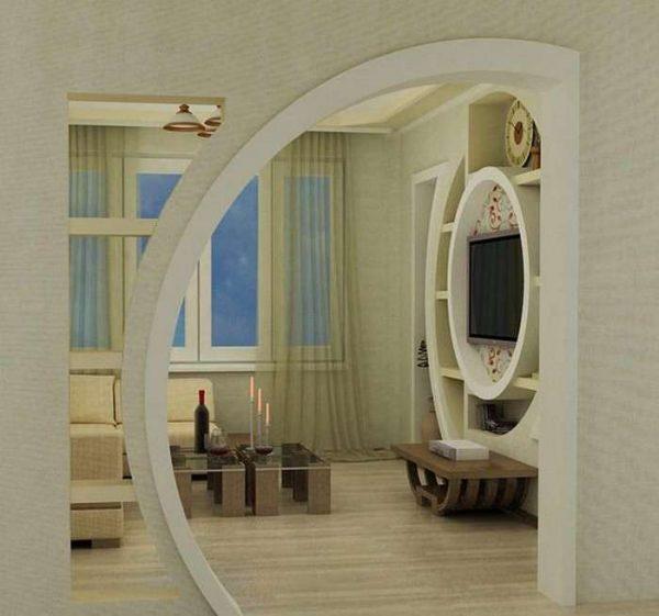 оригинальная форма арки из гипсокартона на кухню