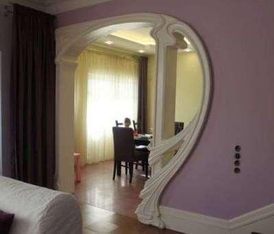 стильная арка из гипсокартона для кухни