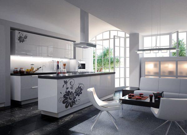 белая кухня с рисунками и чёрной столешницей