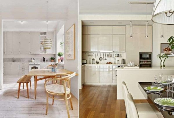 бежевая кухня дарит простор