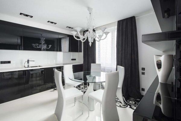 современная чёрно-белая кухня