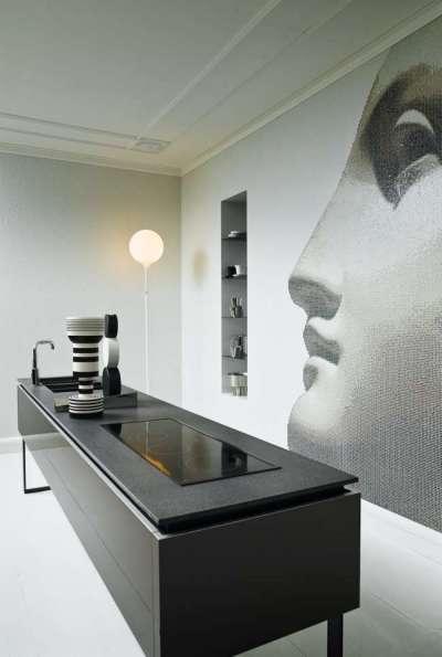 дизайнерский интерьер чёрной кухни