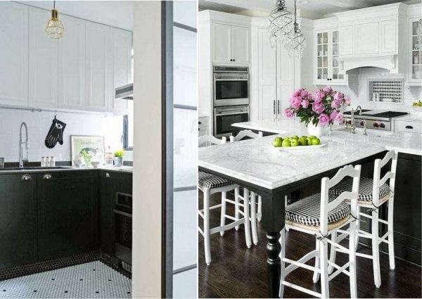 белый верх, чёрный низ в интерьер кухни