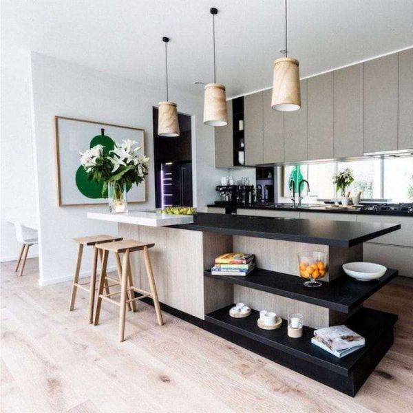 чёрные столешницы в интерьере кухни