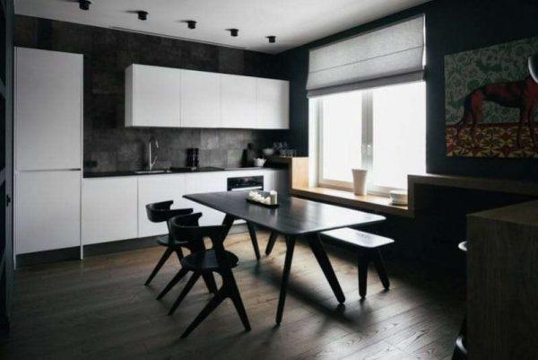 интерьер чёрной кухни с белым кухонным гарнитуром