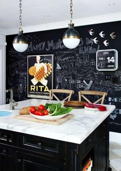 чёрная стена на кухне