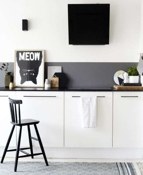 матовый фартук на чёрно-белой кухне