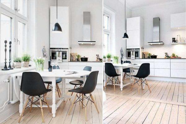 кухня в скандинавском стиле чёрно-белая