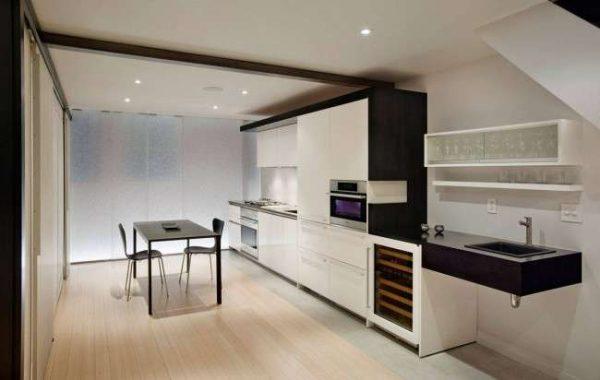 стиль минимализм на чёрно-белой кухне
