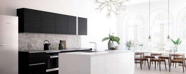 современный дизайн чёрно-белой кухни