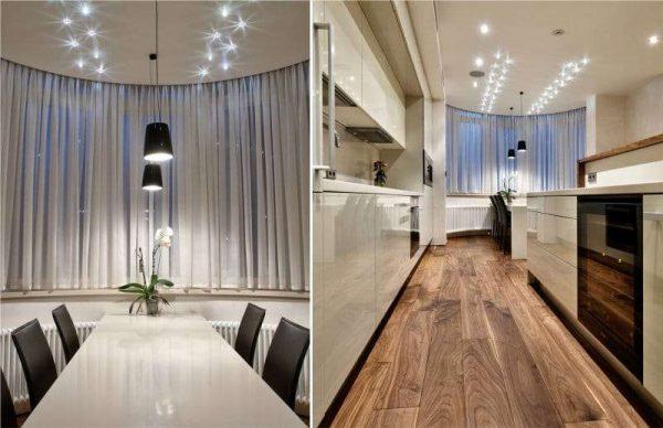 стиль модерн на кухне с эркером