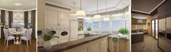 римские шторы на кухне с эркером