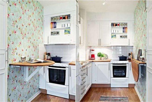 обои с цветочным принтом на кухне в стиле прованс