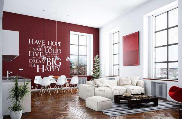 бордовая стена с надписью в интерьере кухни