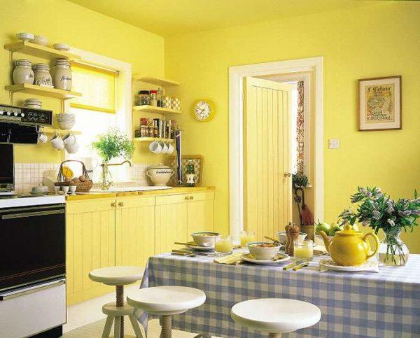 дизайн стен на кухне в жёлтом цвете