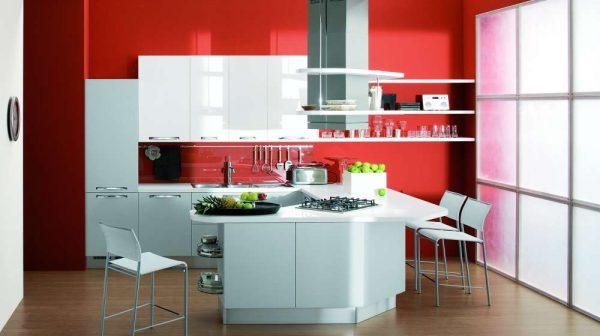 красные окрашенные стены в интерьере кухни