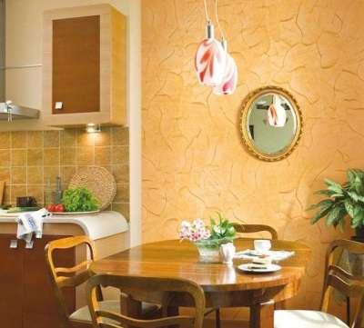 штукатурка песочного цвета состаренная в интерьере кухни