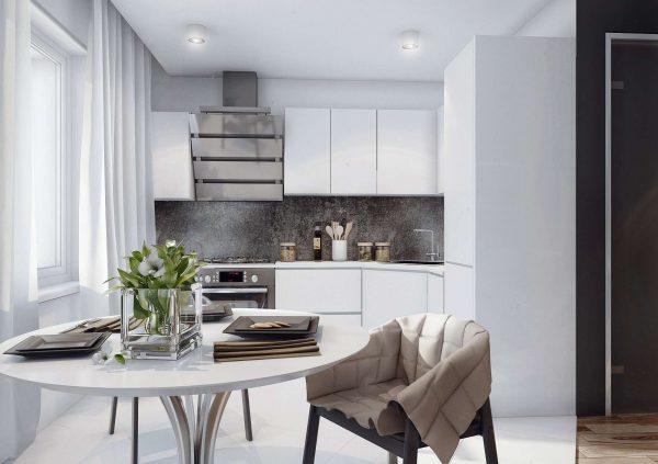 дизайн кухни в светлых серых тонах