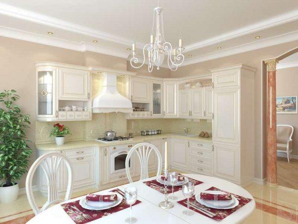 дизайн кухни в светлых тонах с белым потолком