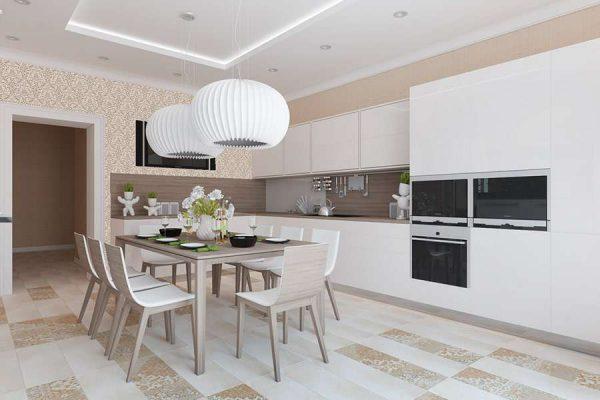 светлый интерьер кухни с белыми светильниками