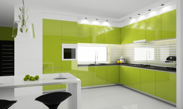 дизайн кухни салатового цвета с белыми стенами