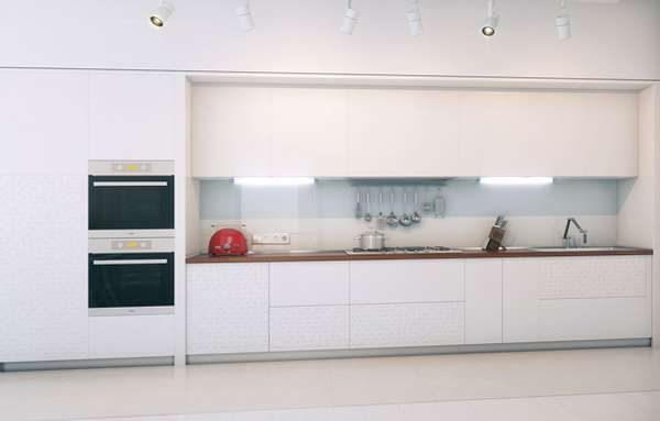 прозрачный фартук из стекла в интерьере кухни