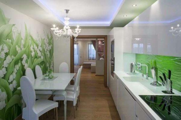 зелёный фартук 3Д в интерьере кухни