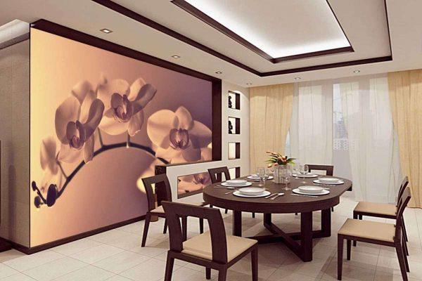 3д фотообои в интерьере кухни с изображением орхидей
