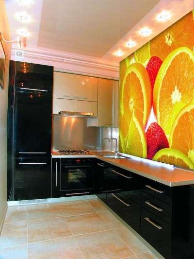 3д фотообои в интерьере кухни с апельсинами