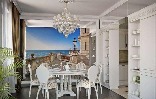 3д фотообои в интерьере кухни с пейзажем
