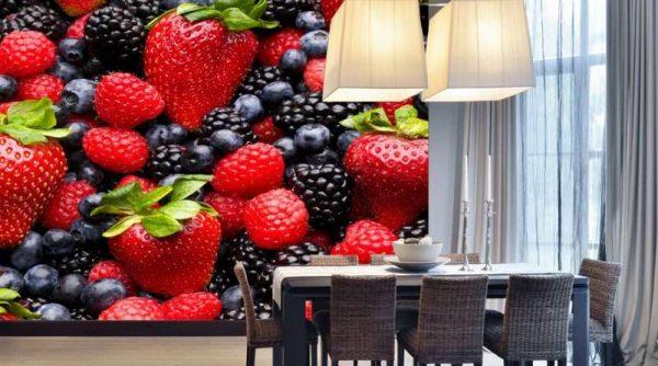 3д фотообои в интерьере кухни с ягодами
