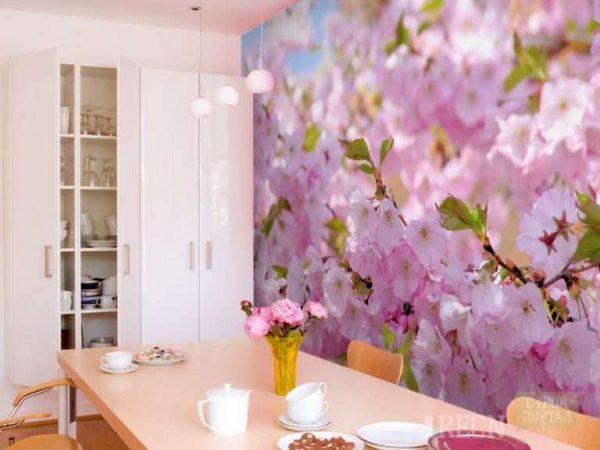 3д фотообои на кухне с цветами