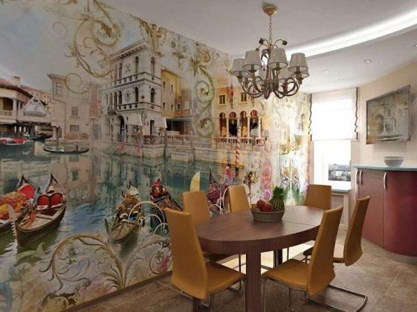 3д фотообои на кухне с изображением Венеции